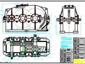 展开式二级圆柱斜齿轮减速器总装配图示例