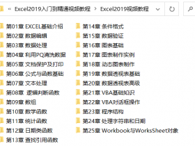 Excel 2019中文版从入门到精通视频教程(含素材)